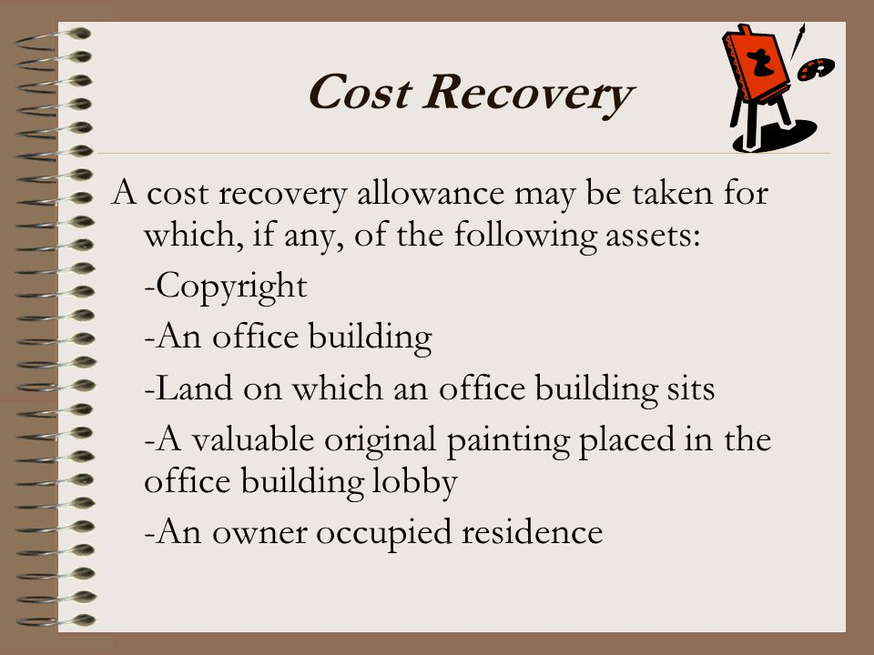 Cost Recovery A cost recovery allowance may be taken for which, if any, of the following assets: -Copyright.