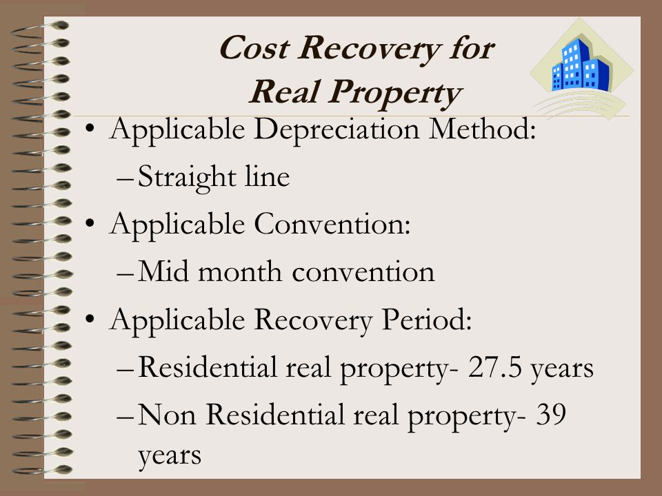 Cost Recovery for Real Property