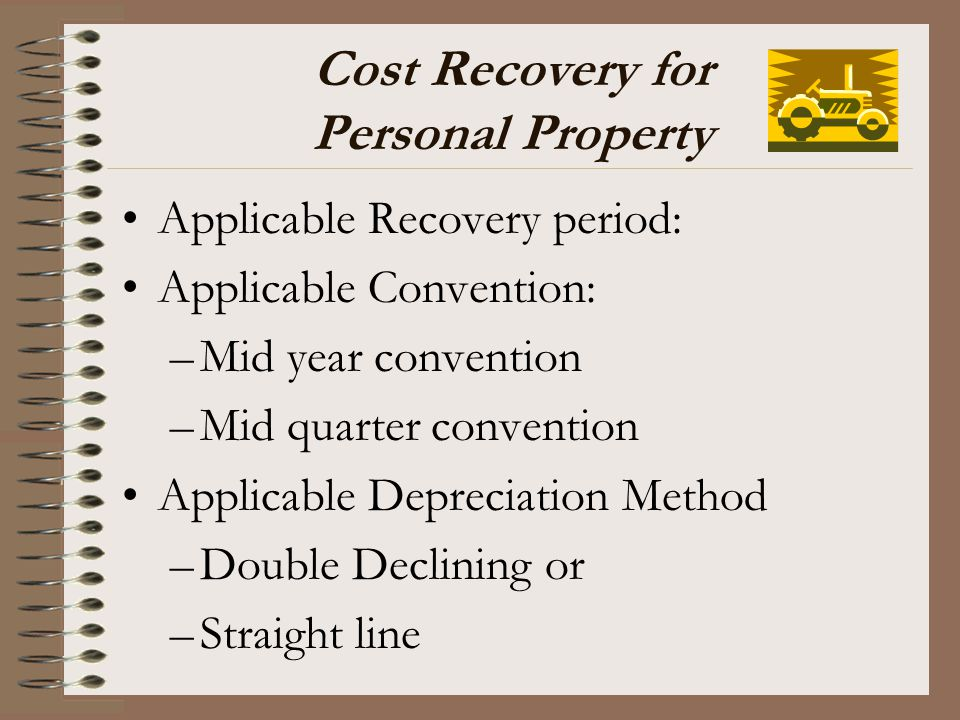 Cost Recovery for Personal Property
