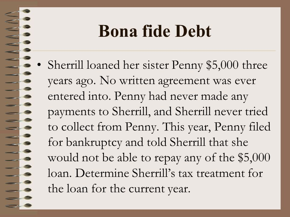 Bona fide Debt