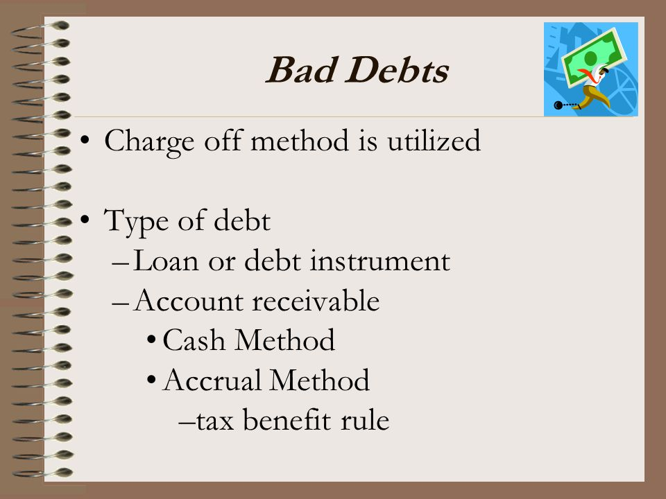 Bad Debts Charge off method is utilized Type of debt