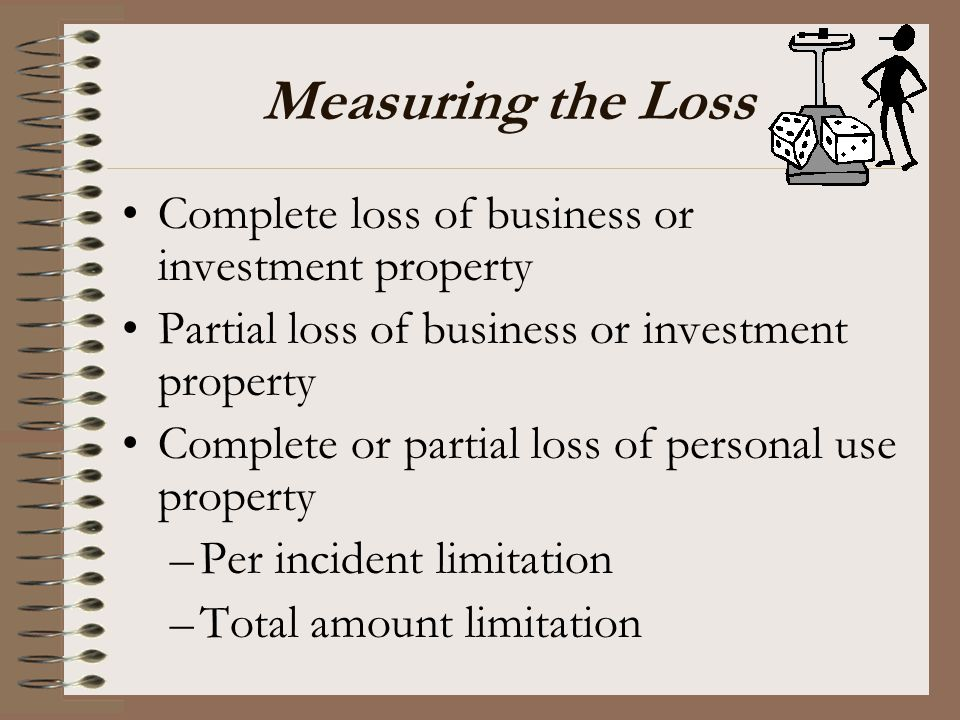 Measuring the Loss Complete loss of business or investment property