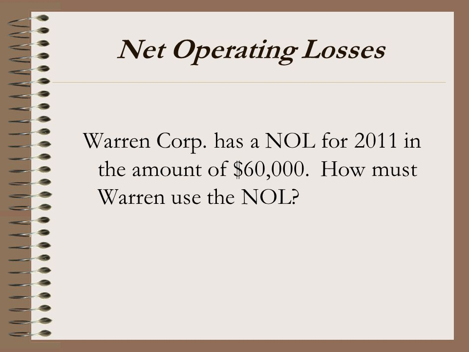 Net Operating Losses Warren Corp. has a NOL for 2011 in the amount of $60,000.