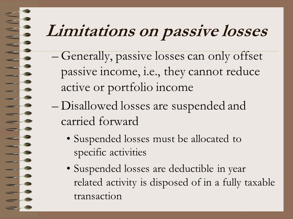 Limitations on passive losses