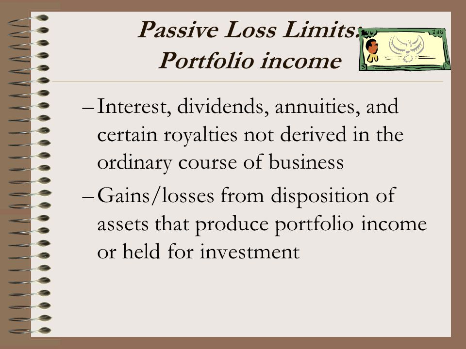 Passive Loss Limits: Portfolio income