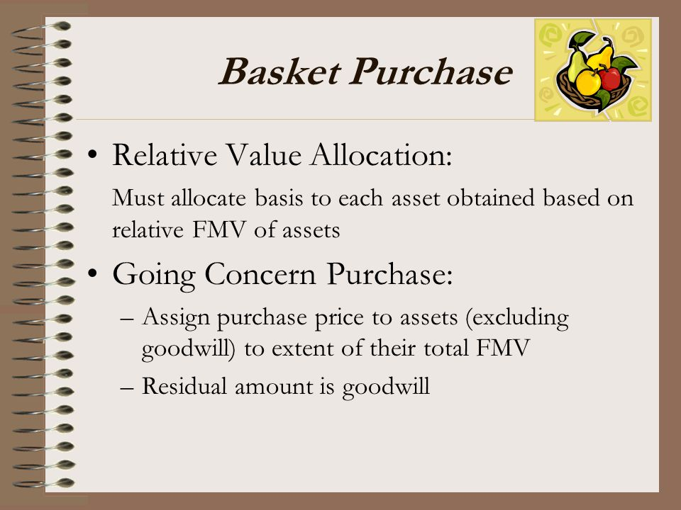 Basket Purchase Relative Value Allocation: Going Concern Purchase: