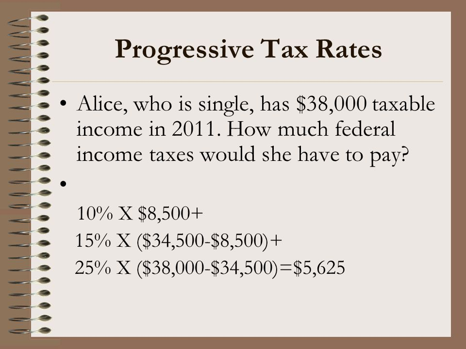Progressive Tax Rates Alice, who is single, has $38,000 taxable income in 2011. How much federal income taxes would she have to pay