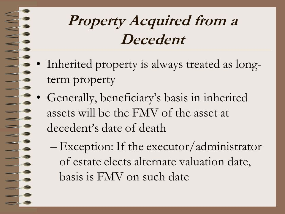 Property Acquired from a Decedent