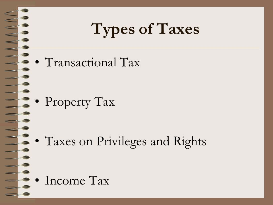 Types of Taxes Transactional Tax Property Tax