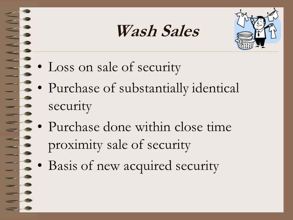 Wash Sales Loss on sale of security