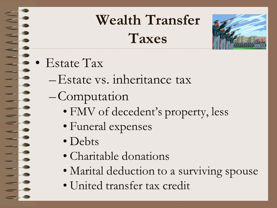 Wealth Transfer Taxes Estate Tax Estate vs. inheritance tax