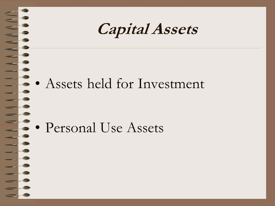 Capital Assets Assets held for Investment Personal Use Assets