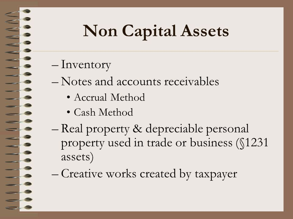 Non Capital Assets Inventory Notes and accounts receivables