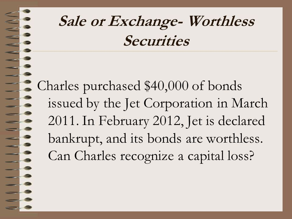 Sale or Exchange- Worthless Securities