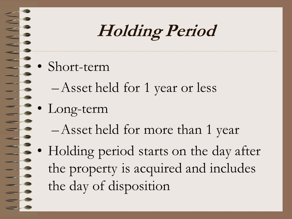 Holding Period Short-term Asset held for 1 year or less Long-term