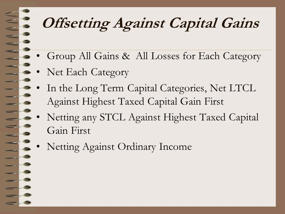 Offsetting Against Capital Gains