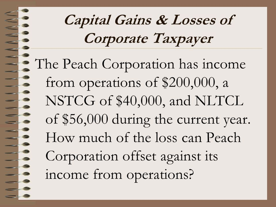 Capital Gains & Losses of Corporate Taxpayer