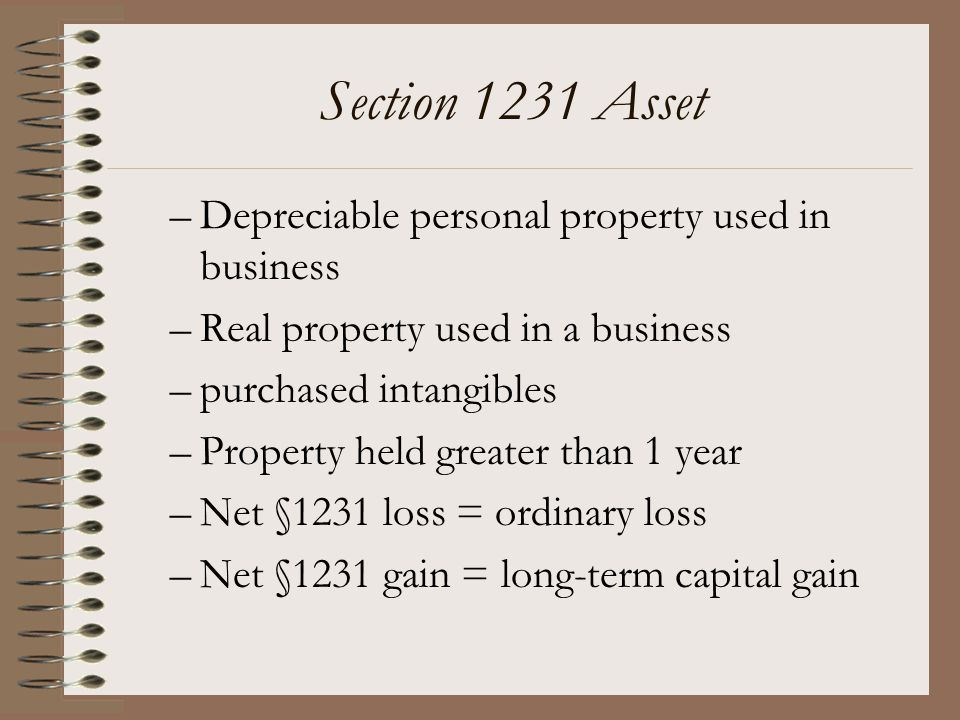 Section 1231 Asset Depreciable personal property used in business