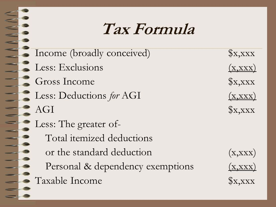 Tax Formula Income (broadly conceived) $x,xxx Less: Exclusions (x,xxx)