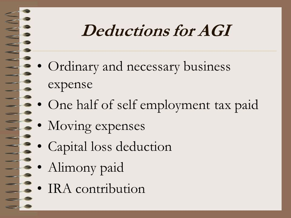 Deductions for AGI Ordinary and necessary business expense
