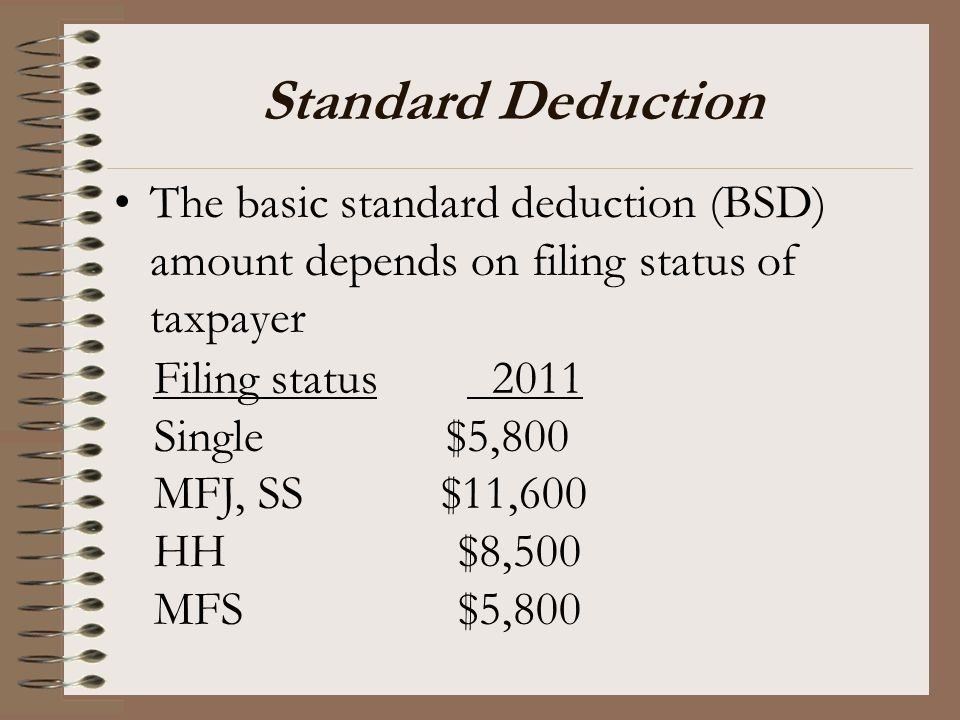 Standard Deduction The basic standard deduction (BSD) amount depends on filing status of taxpayer. Filing status 2011.