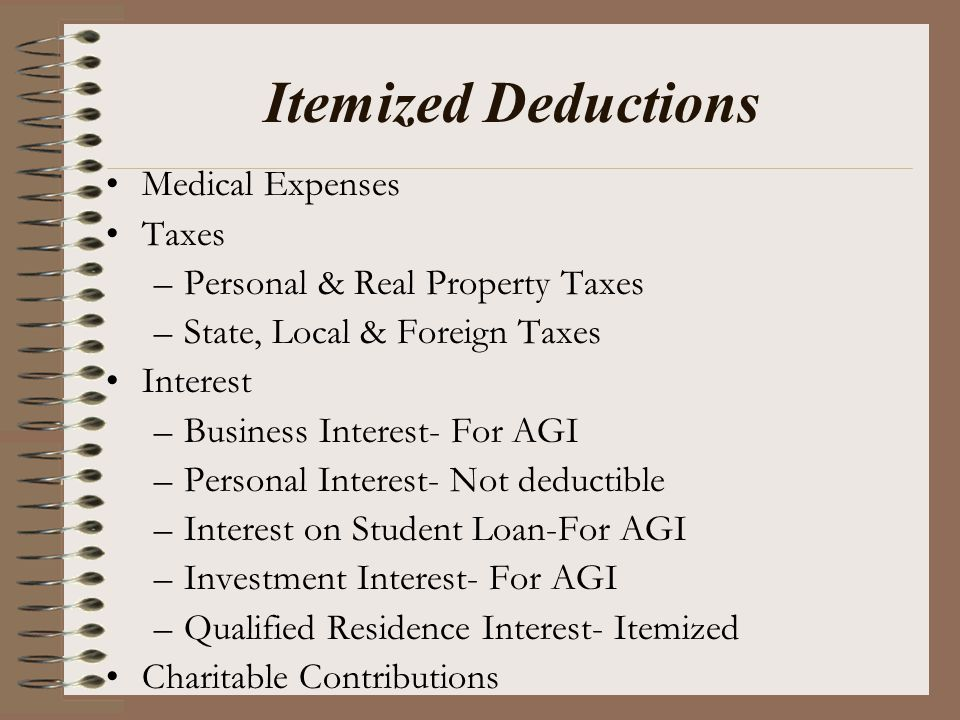 Itemized Deductions Medical Expenses Taxes