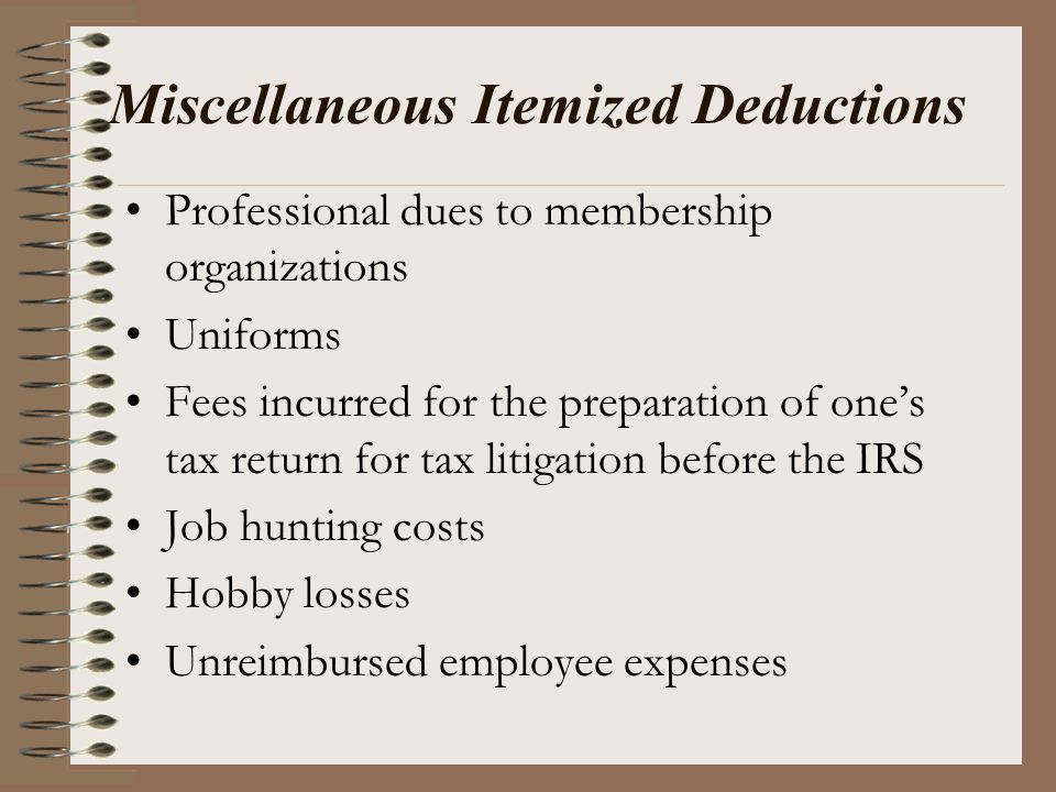 Miscellaneous Itemized Deductions