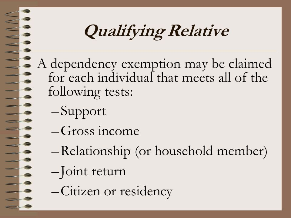 Qualifying Relative A dependency exemption may be claimed for each individual that meets all of the following tests:
