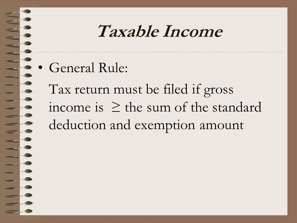 Taxable Income General Rule: