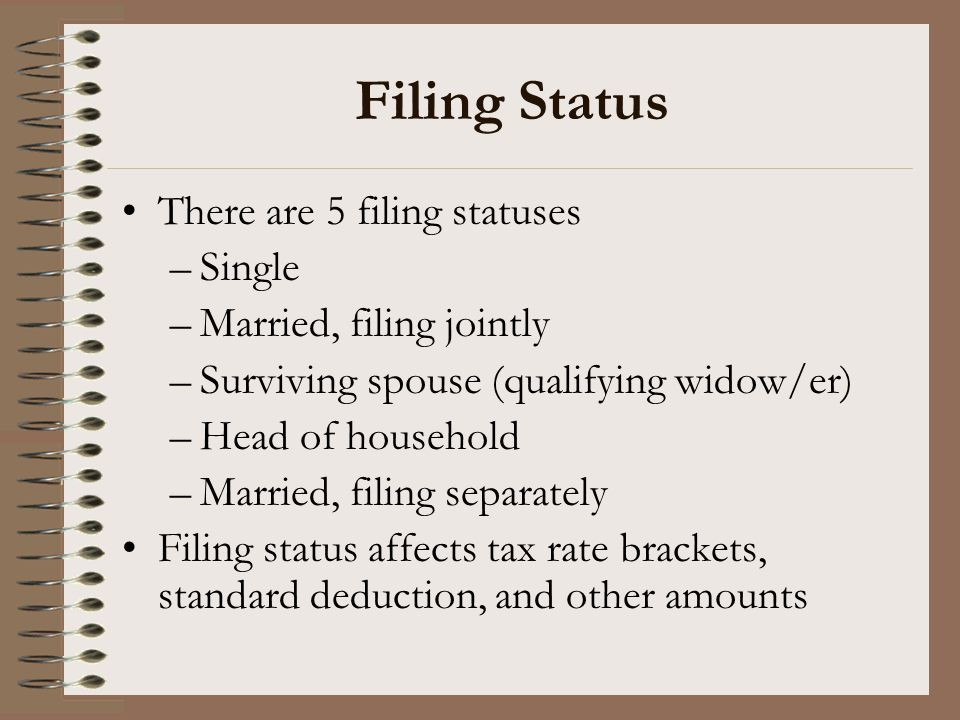 Filing Status There are 5 filing statuses Single