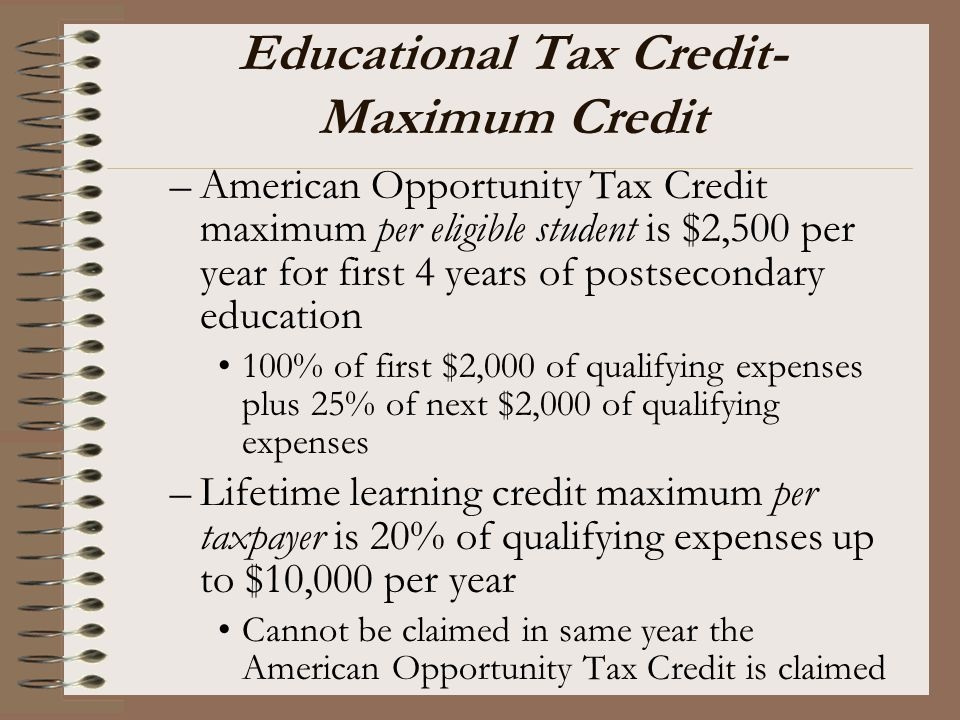 Educational Tax Credit-Maximum Credit