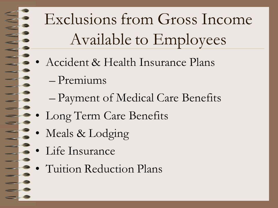 Exclusions from Gross Income Available to Employees