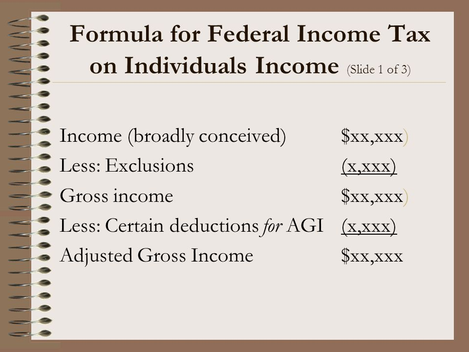 Formula for Federal Income Tax on Individuals Income (Slide 1 of 3)