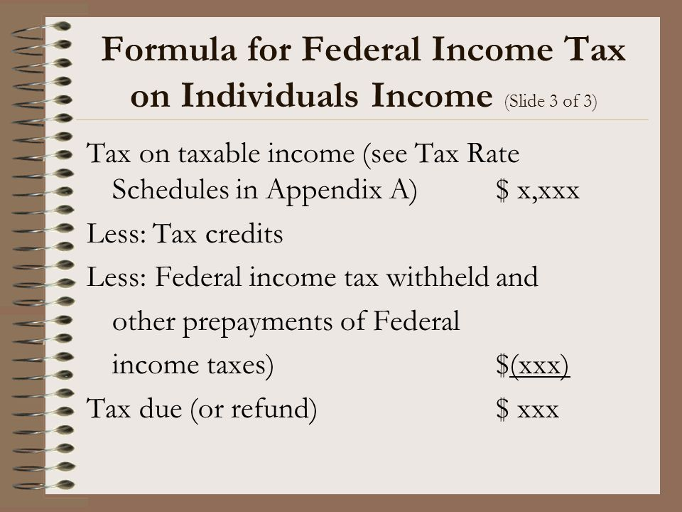 Formula for Federal Income Tax on Individuals Income (Slide 3 of 3)