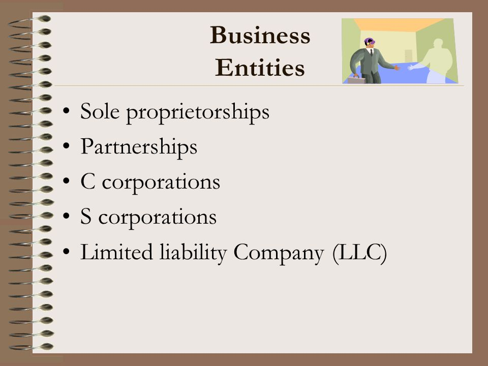 Business Entities Sole proprietorships Partnerships C corporations