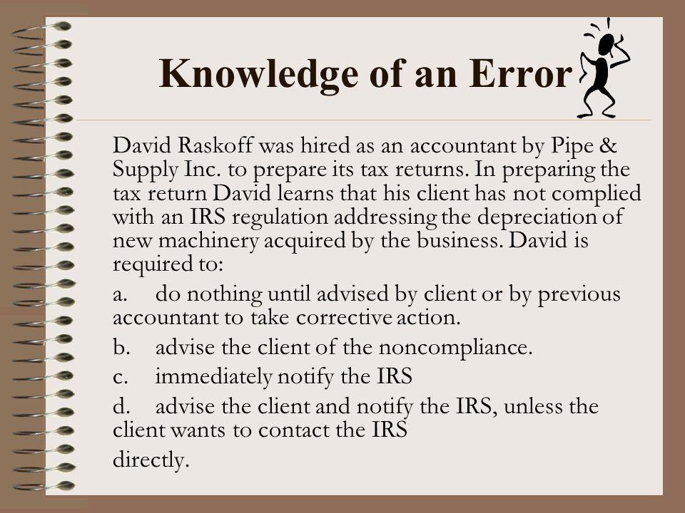 Knowledge of an Error