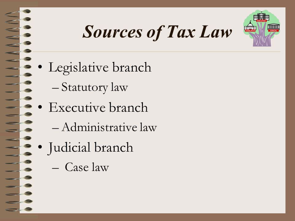 Sources of Tax Law Legislative branch Executive branch Judicial branch