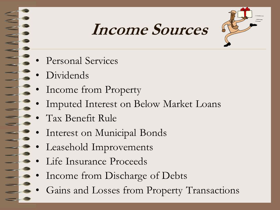 Income Sources Personal Services Dividends Income from Property