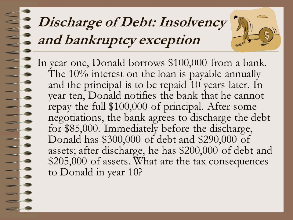 Discharge of Debt: Insolvency and bankruptcy exception