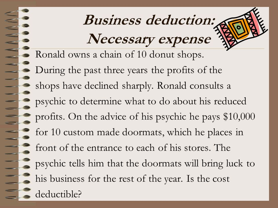Business deduction: Necessary expense