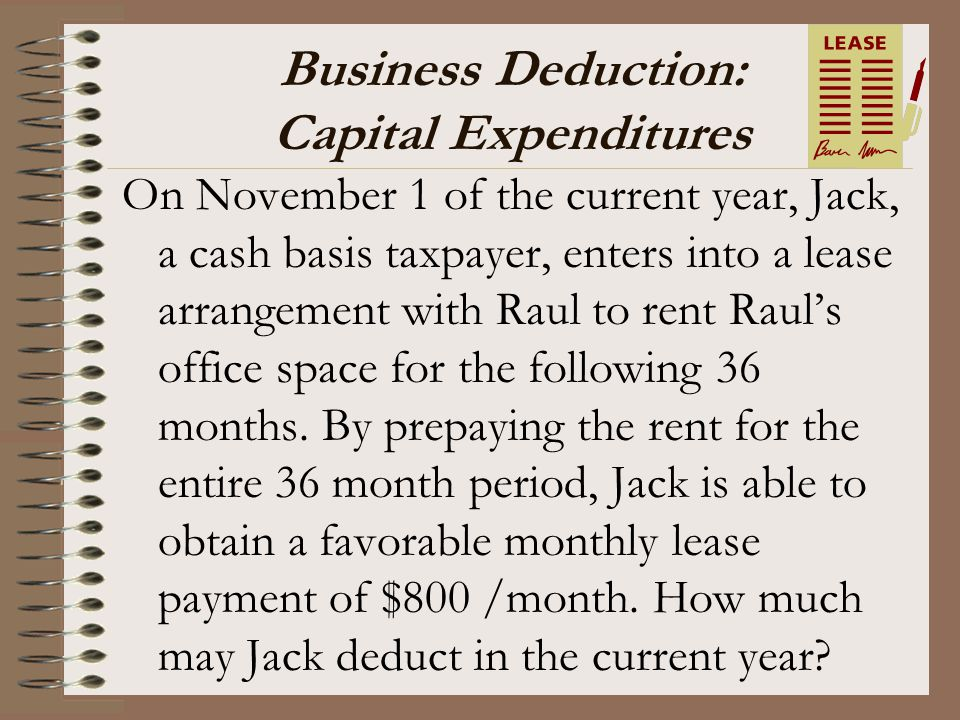Business Deduction: Capital Expenditures