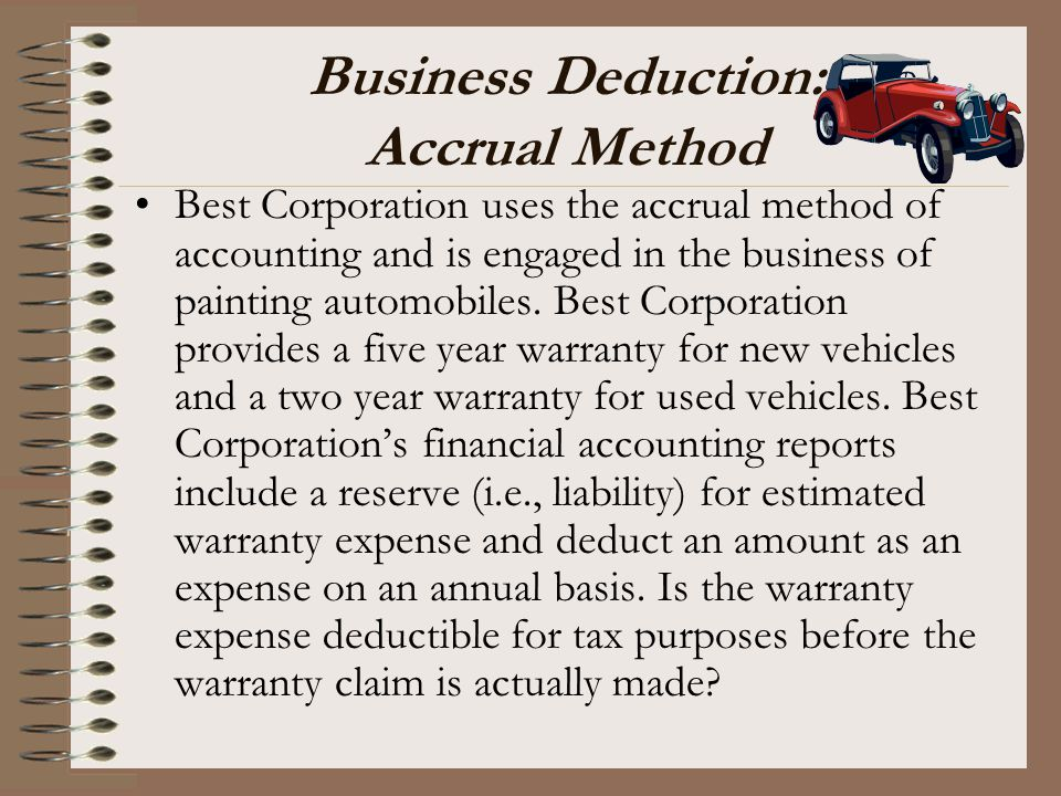 Business Deduction: Accrual Method