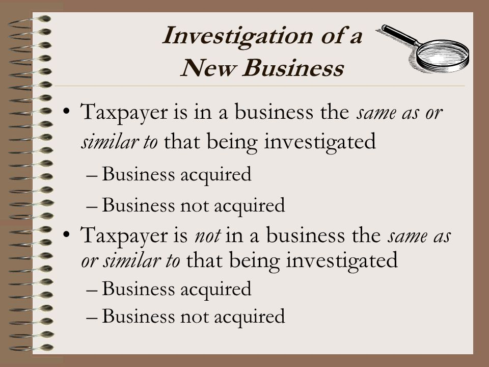 Investigation of a New Business