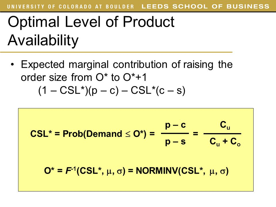 Optimal Level of Product Availability