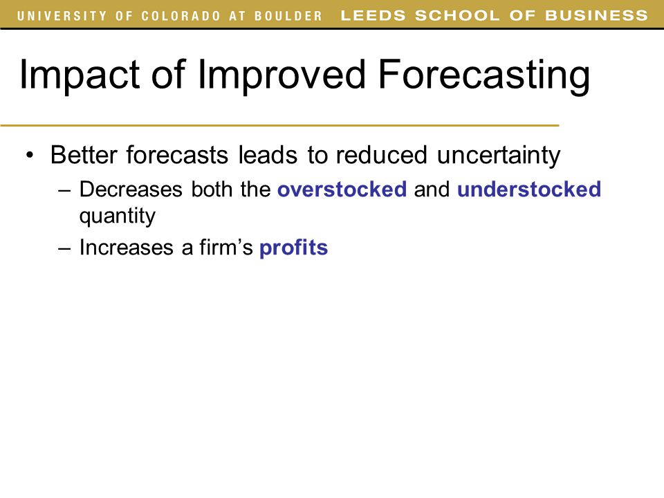 Impact of Improved Forecasting