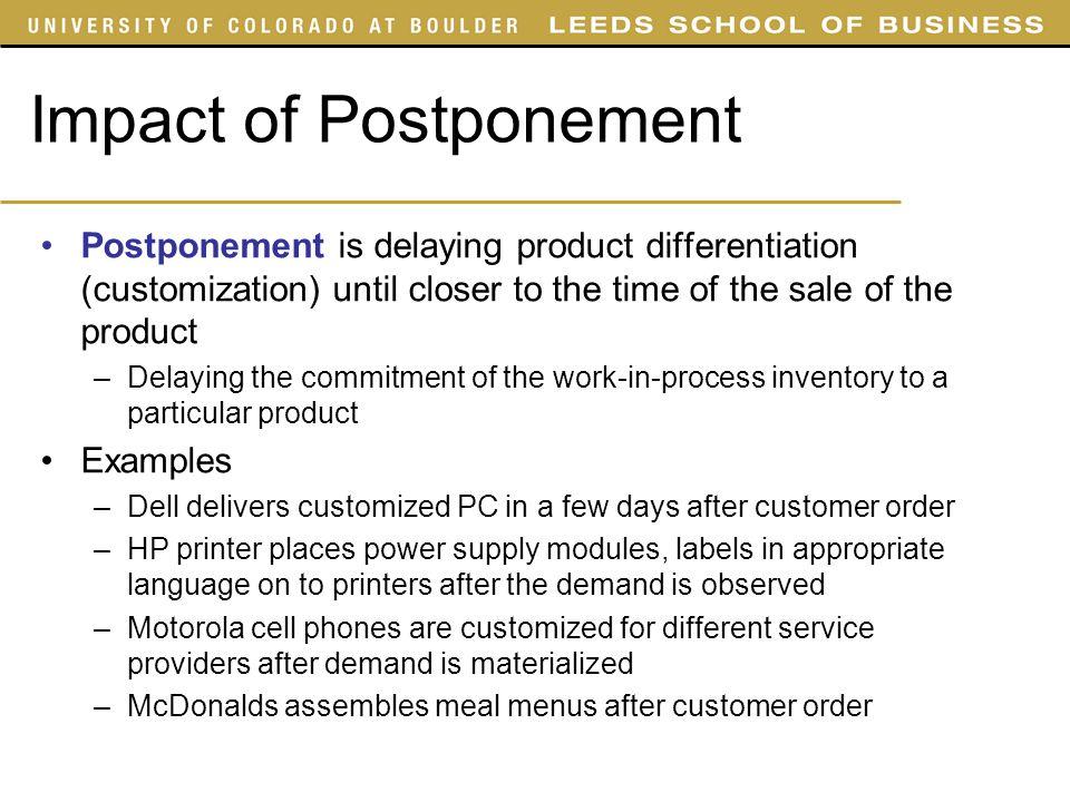Impact of Postponement