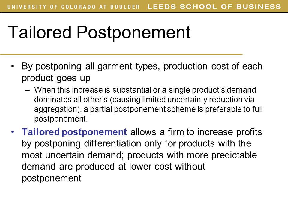 Tailored Postponement