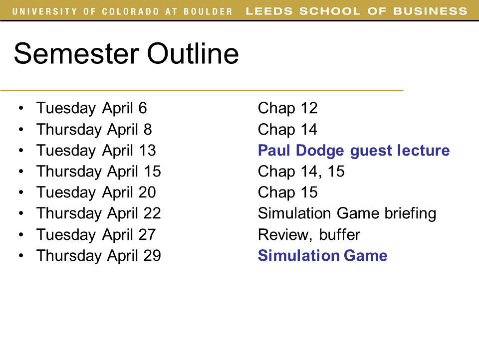 Semester Outline Tuesday April 6 Chap 12 Thursday April 8 Chap 14