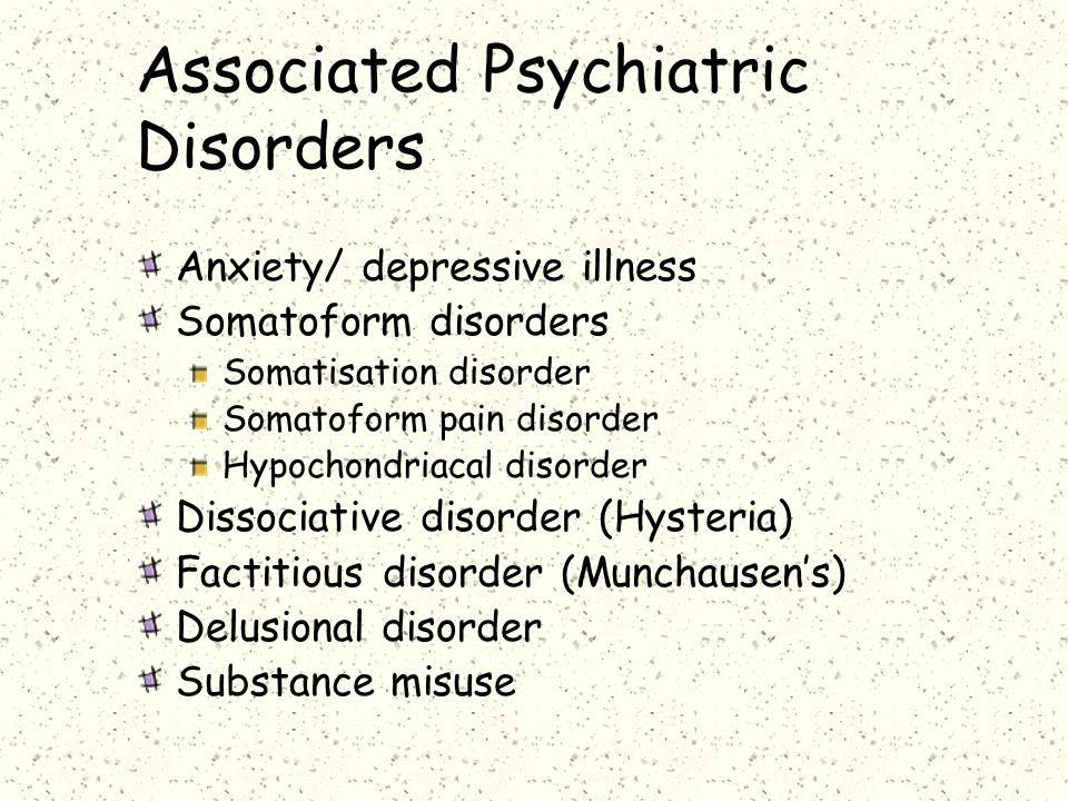 Associated Psychiatric Disorders