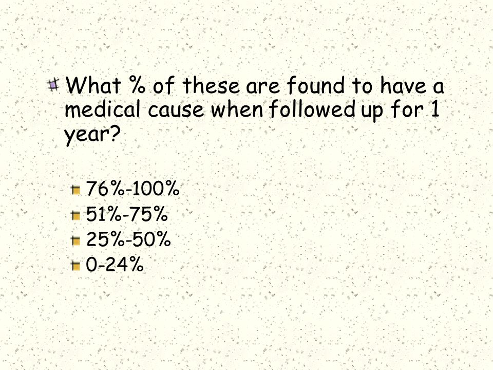 What % of these are found to have a medical cause when followed up for 1 year